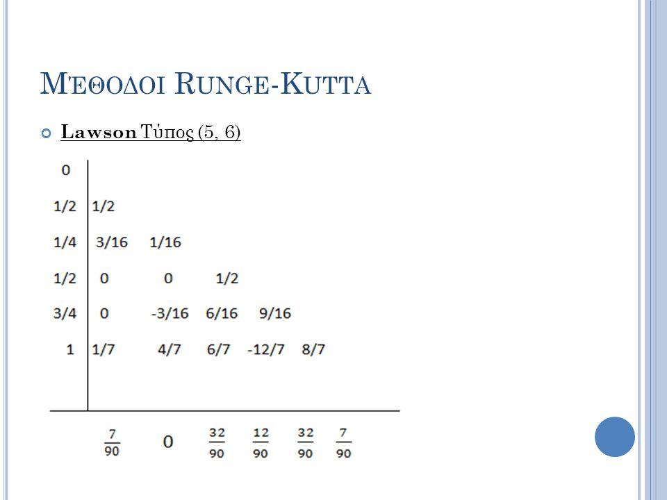 Μέθοδοι Runge-Kutta Lawson Τύπος (5, 6)