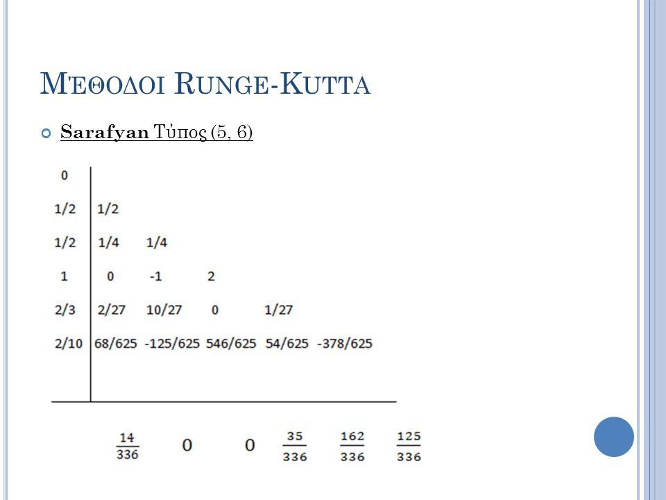 Μέθοδοι Runge-Kutta Sarafyan Τύπος (5, 6)