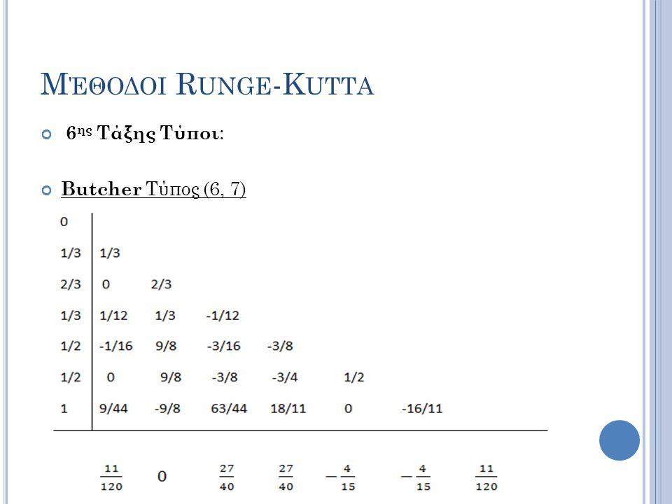 Μέθοδοι Runge-Kutta 6ης Τάξης Τύποι: Butcher Τύπος (6, 7)