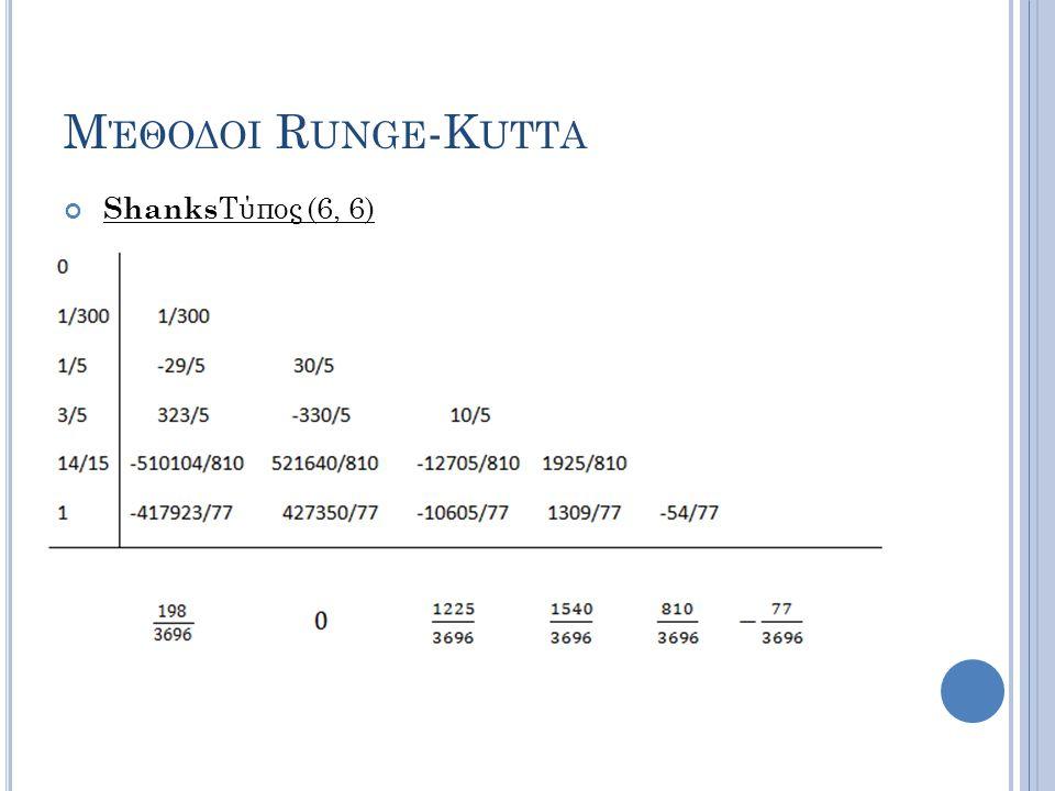 Μέθοδοι Runge-Kutta ShanksΤύπος (6, 6)