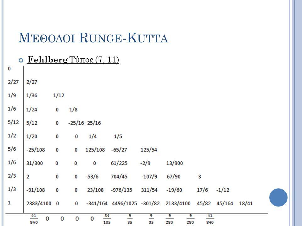 Μέθοδοι Runge-Kutta Fehlberg Τύπος (7, 11)