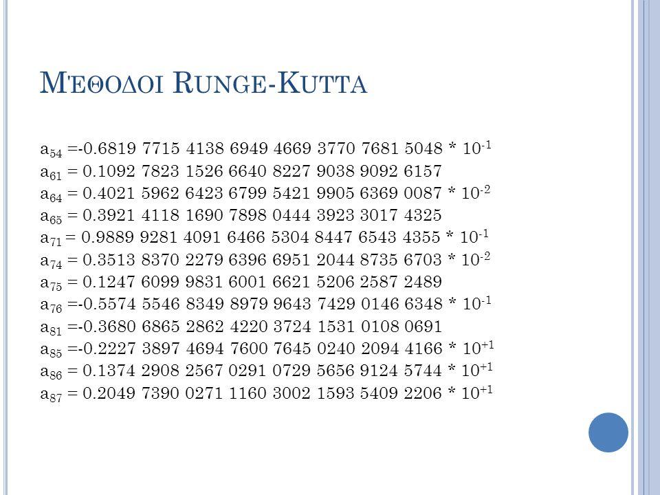 Μέθοδοι Runge-Kutta a54 =-0.6819 7715 4138 6949 4669 3770 7681 5048 * 10-1. a61 = 0.1092 7823 1526 6640 8227 9038 9092 6157.