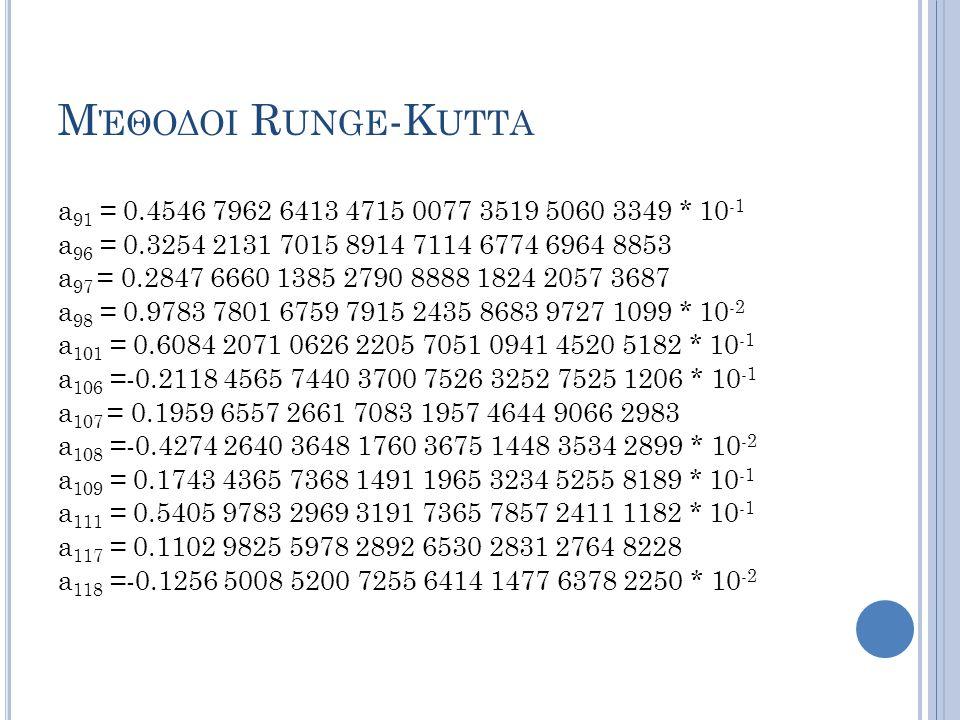 Μέθοδοι Runge-Kutta a91 = 0.4546 7962 6413 4715 0077 3519 5060 3349 * 10-1. a96 = 0.3254 2131 7015 8914 7114 6774 6964 8853.
