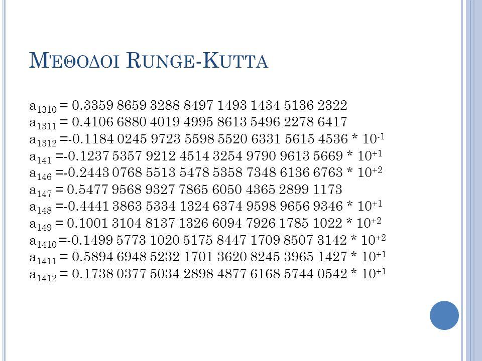 Μέθοδοι Runge-Kutta a1310 = 0.3359 8659 3288 8497 1493 1434 5136 2322