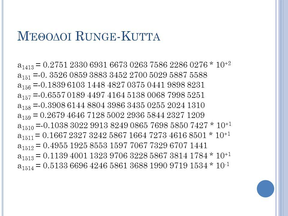 Μέθοδοι Runge-Kutta a1413 = 0.2751 2330 6931 6673 0263 7586 2286 0276 * 10+2. a151 =-0. 3526 0859 3883 3452 2700 5029 5887 5588.