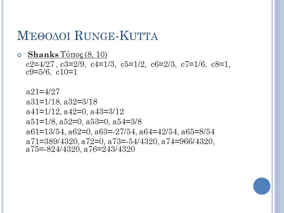 Μέθοδοι Runge-Kutta Shanks Τύπος (8, 10) c2=4/27 , c3=2/9, c4=1/3, c5=1/2, c6=2/3, c7=1/6, c8=1, c9=5/6, c10=1.