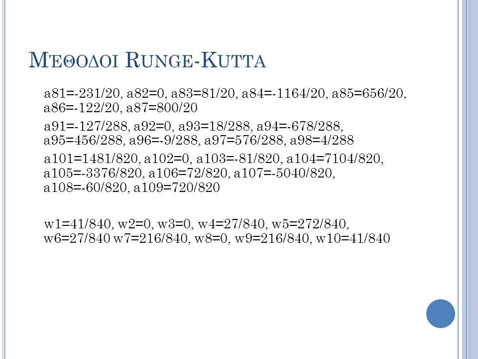 Μέθοδοι Runge-Kutta a81=-231/20, a82=0, a83=81/20, a84=-1164/20, a85=656/20, a86=-122/20, a87=800/20.