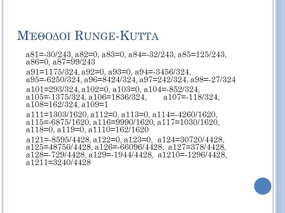 Μέθοδοι Runge-Kutta a81=-30/243, a82=0, a83=0, a84=-32/243, a85=125/243, a86=0, a87=99/243.