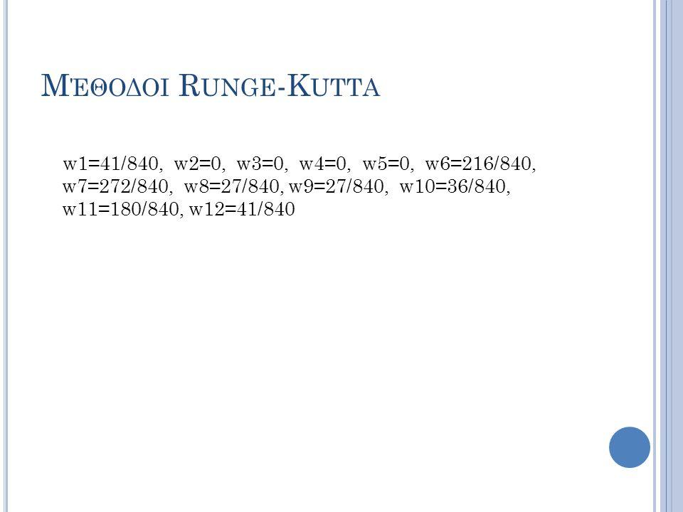 Μέθοδοι Runge-Kutta w1=41/840, w2=0, w3=0, w4=0, w5=0, w6=216/840, w7=272/840, w8=27/840, w9=27/840, w10=36/840, w11=180/840, w12=41/840.