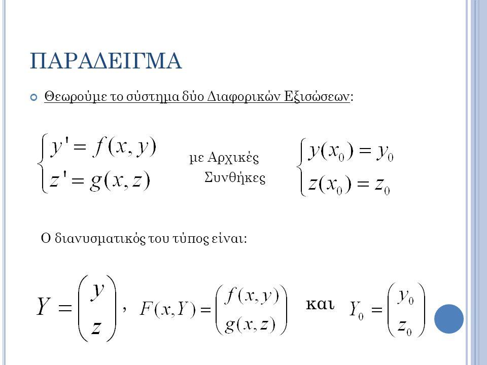 ΠΑΡΑΔΕΙΓΜΑ Θεωρούμε το σύστημα δύο Διαφορικών Εξισώσεων: με Αρχικές