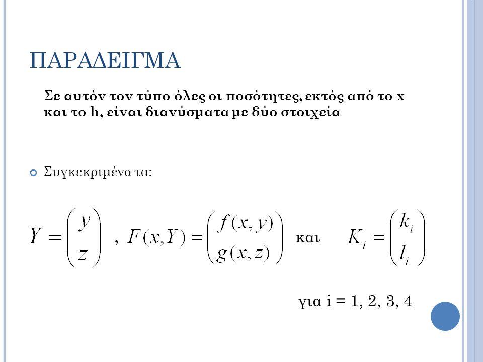 ΠΑΡΑΔΕΙΓΜΑ Σε αυτόν τον τύπο όλες οι ποσότητες, εκτός από το x και το h, είναι διανύσματα με δύο στοιχεία.