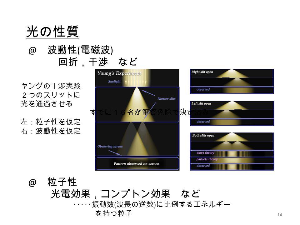 光の性質 @ 波動性(電磁波) 回折,干渉 など @ 粒子性 光電効果,コンプトン効果 など