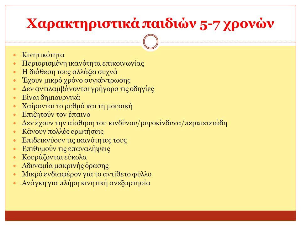Χαρακτηριστικά παιδιών 5-7 χρονών
