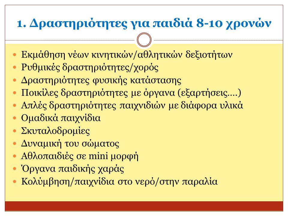1. Δραστηριότητες για παιδιά 8-10 χρονών