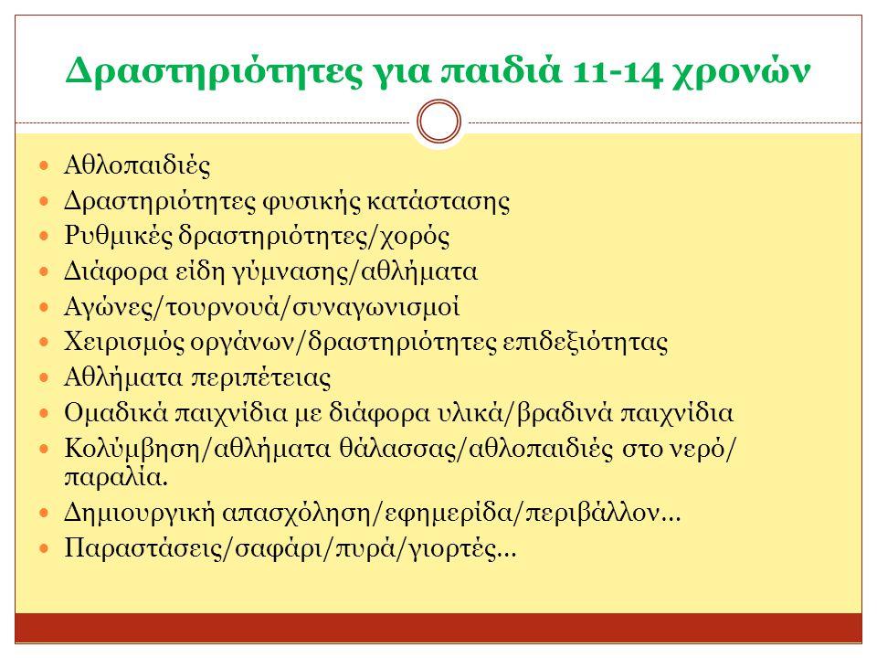 Δραστηριότητες για παιδιά 11-14 χρονών