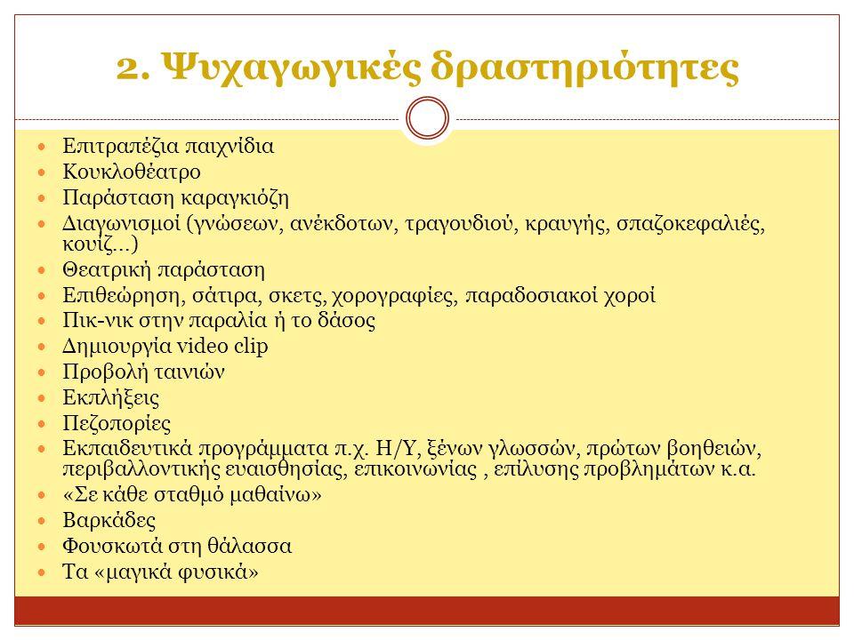 2. Ψυχαγωγικές δραστηριότητες