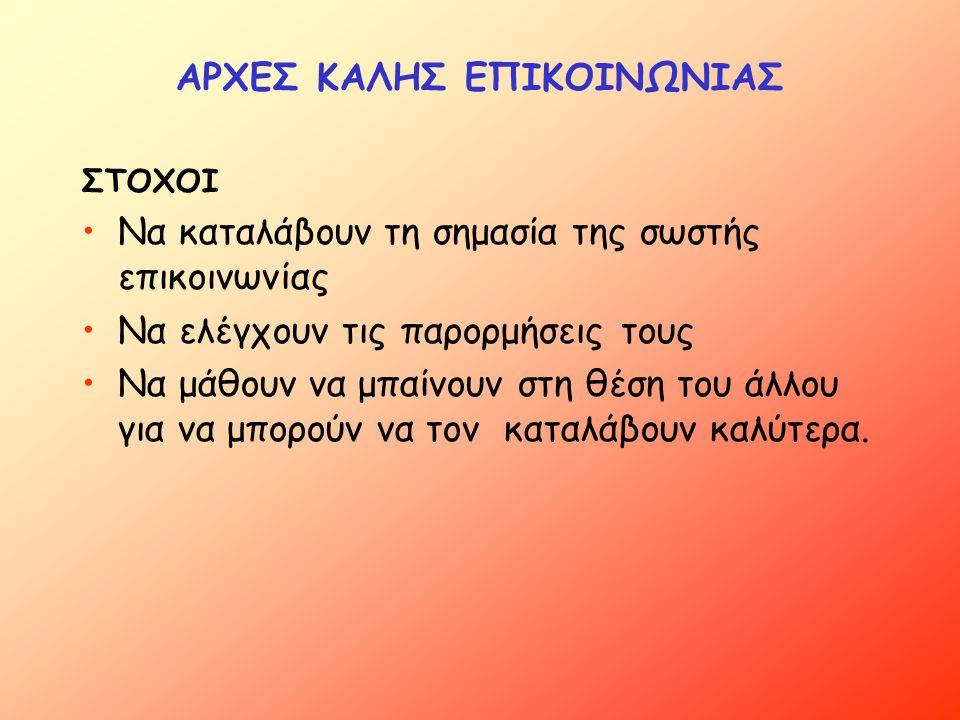 ΑΡΧΕΣ ΚΑΛΗΣ ΕΠΙΚΟΙΝΩΝΙΑΣ