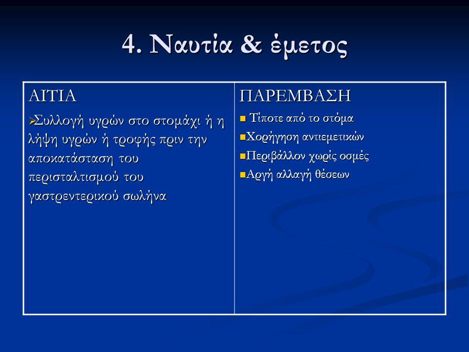 4. Ναυτία & έμετος ΑΙΤΙΑ ΠΑΡΕΜΒΑΣΗ