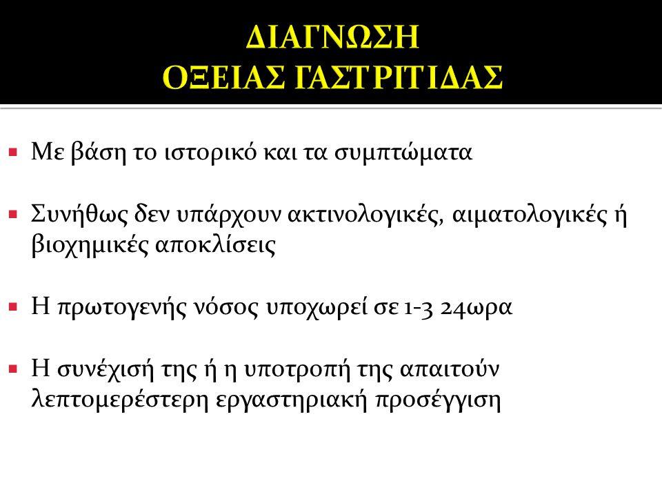 ΔΙΑΓΝΩΣΗ ΟΞΕΙΑΣ ΓΑΣΤΡΙΤΙΔΑΣ