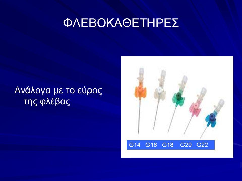 ΦΛΕΒΟΚΑΘΕΤΗΡΕΣ Ανάλογα με το εύρος της φλέβας G14 G16 G18 G20 G22