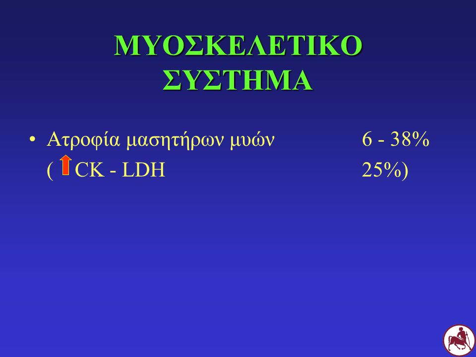 ΜΥΟΣΚΕΛΕΤΙΚΟ ΣΥΣΤΗΜΑ Ατροφία μασητήρων μυών 6 - 38% ( CK - LDH 25%)