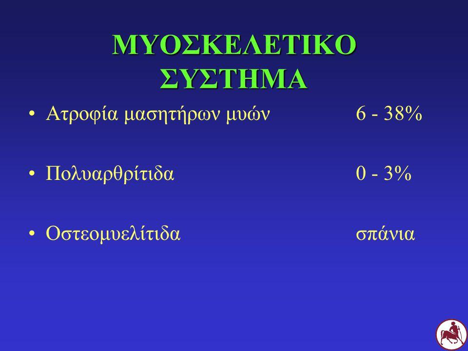 ΜΥΟΣΚΕΛΕΤΙΚΟ ΣΥΣΤΗΜΑ Ατροφία μασητήρων μυών 6 - 38%