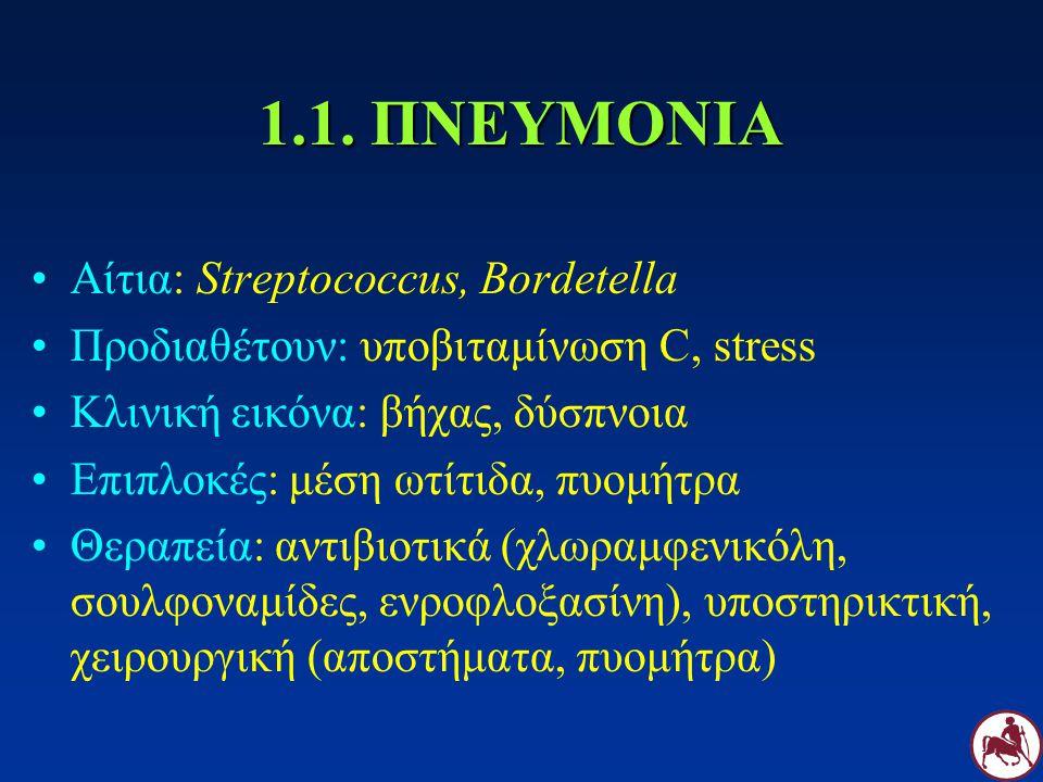 1.1. ΠΝΕΥΜΟΝΙΑ Αίτια: Streptococcus, Bordetella