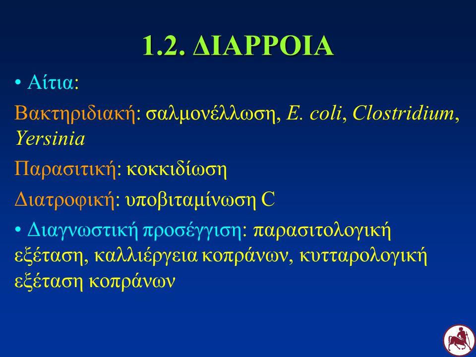 1.2. ΔΙΑΡΡΟΙΑ Αίτια: Βακτηριδιακή: σαλμονέλλωση, E. coli, Clostridium, Yersinia. Παρασιτική: κοκκιδίωση.