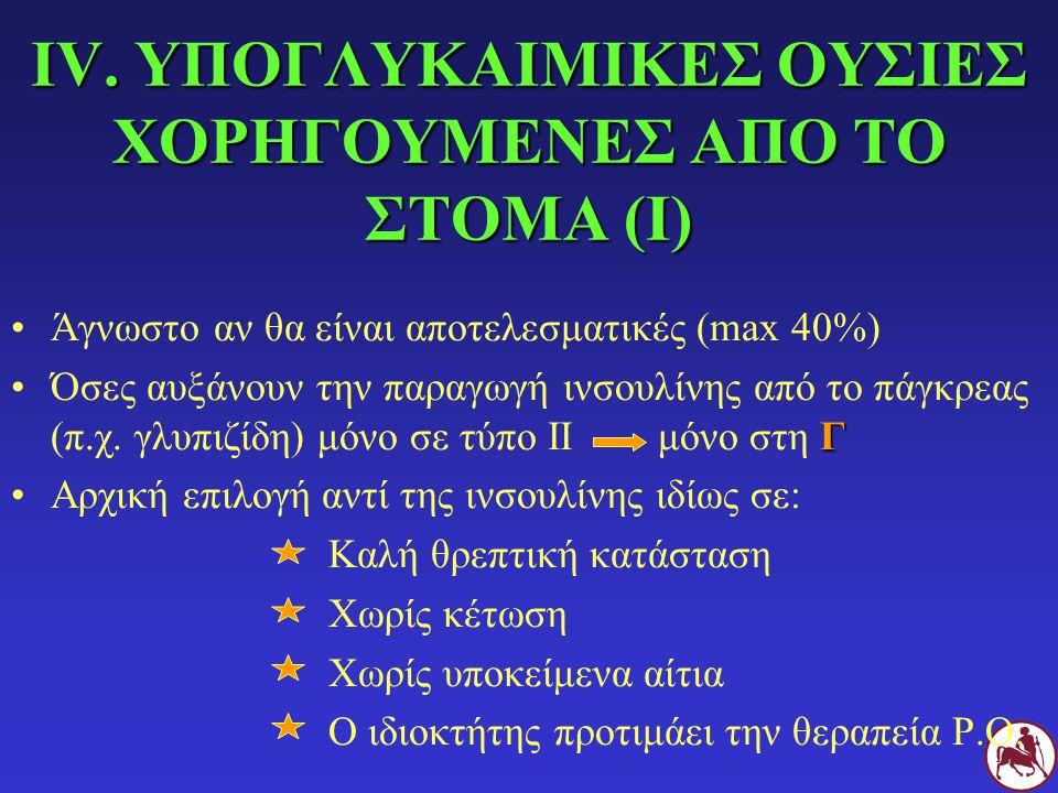 IV. ΥΠΟΓΛΥΚΑΙΜΙΚΕΣ ΟΥΣΙΕΣ ΧΟΡΗΓΟΥΜΕΝΕΣ ΑΠΟ ΤΟ ΣΤΟΜΑ (Ι)