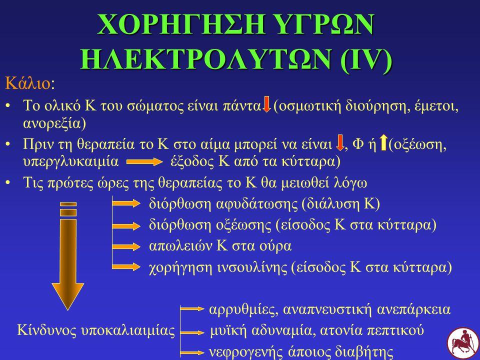 ΧΟΡΗΓΗΣΗ ΥΓΡΩΝ ΗΛΕΚΤΡΟΛΥΤΩΝ (ΙV)