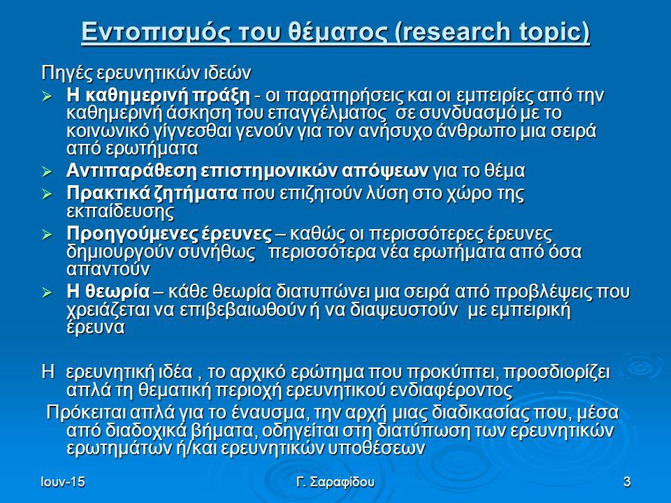 Εντοπισμός του θέματος (research topic)