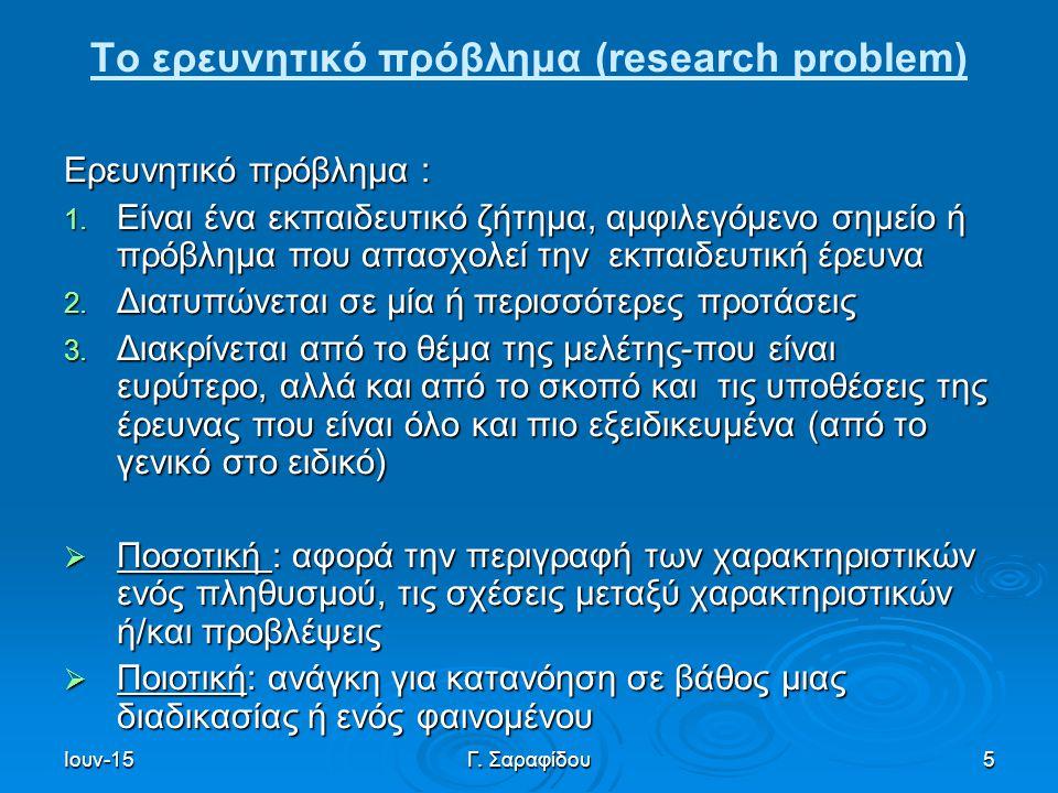 Το ερευνητικό πρόβλημα (research problem)