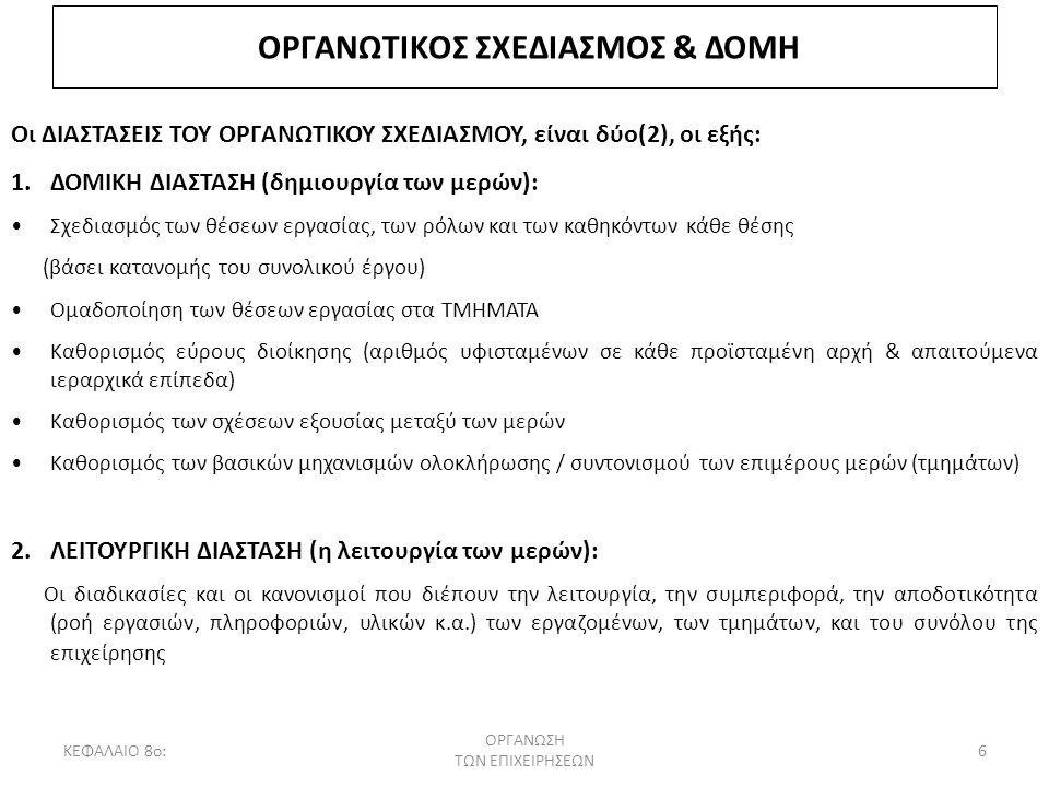 ΟΡΓΑΝΩΤΙΚΟΣ ΣΧΕΔΙΑΣΜΟΣ & ΔΟΜΗ