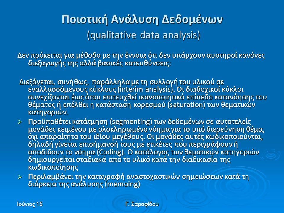 Ποιοτική Ανάλυση Δεδομένων (qualitative data analysis)