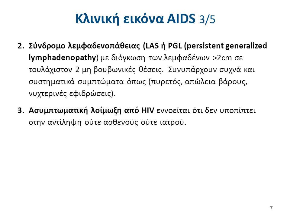 Κλινική εικόνα AIDS 4/5 Κατηγορία (Στάδιο) Β