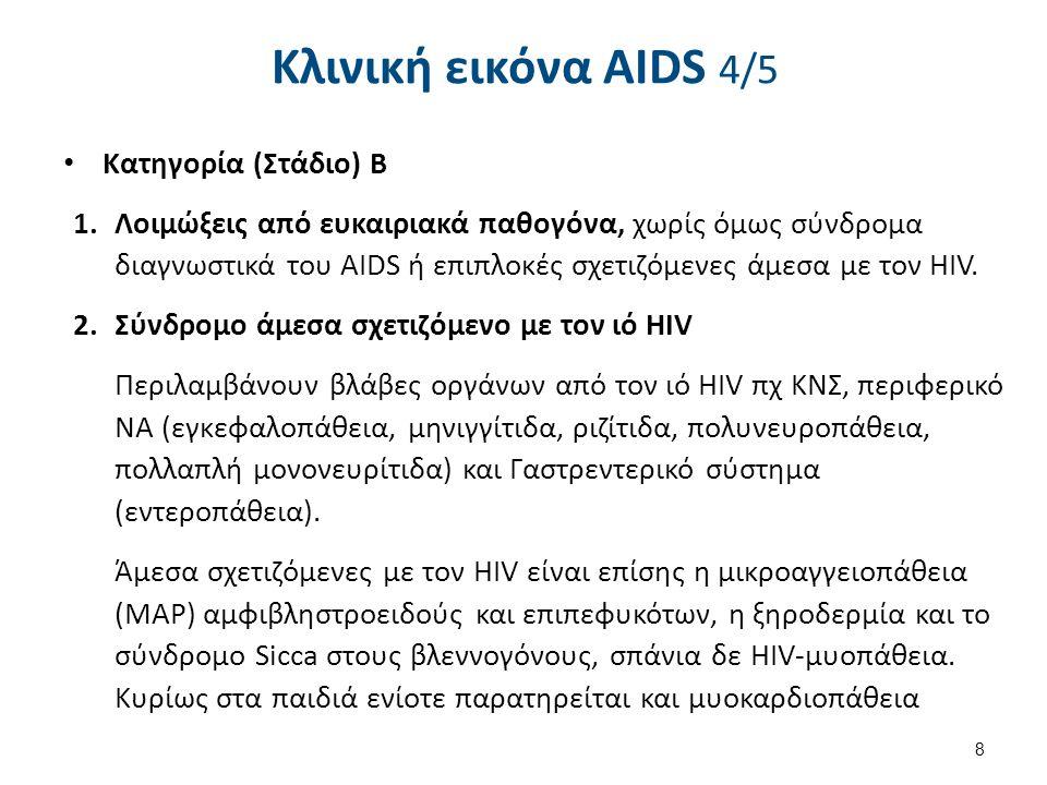 Κλινική εικόνα AIDS 5/5 Κατηγορία (Στάδιο) C
