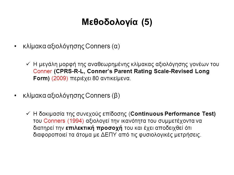 Μεθοδολογία (5) κλίμακα αξιολόγησης Conners (α)