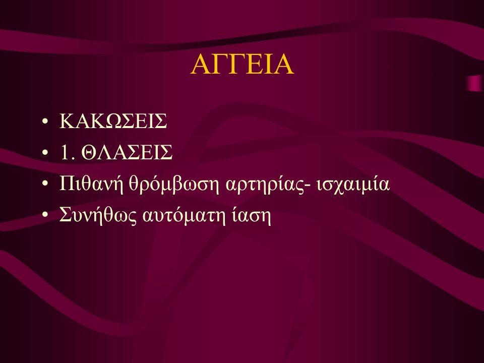 ΑΓΓΕΙΑ ΚΑΚΩΣΕΙΣ 1. ΘΛΑΣΕΙΣ Πιθανή θρόμβωση αρτηρίας- ισχαιμία