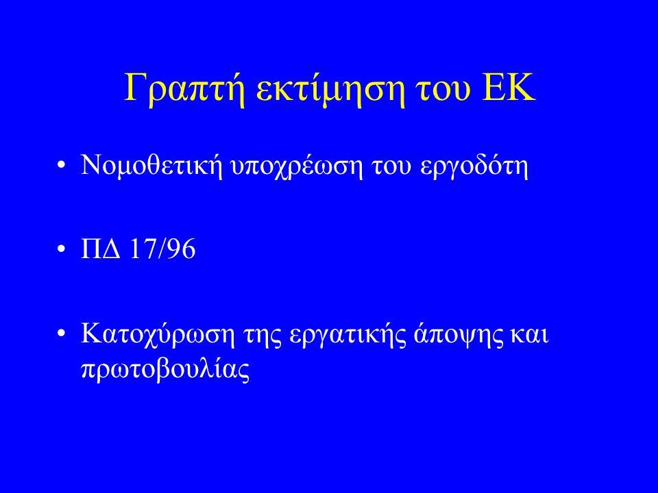 Γραπτή εκτίμηση του ΕΚ Νομοθετική υποχρέωση του εργοδότη ΠΔ 17/96
