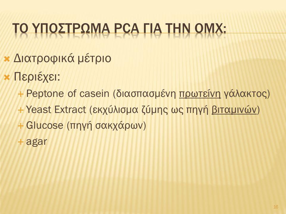 Το υποστρωμα pca για την ομχ: