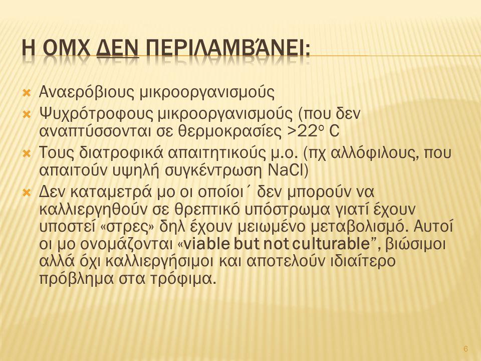 Η ΟΜΧ δεν περιλαμβάνει: