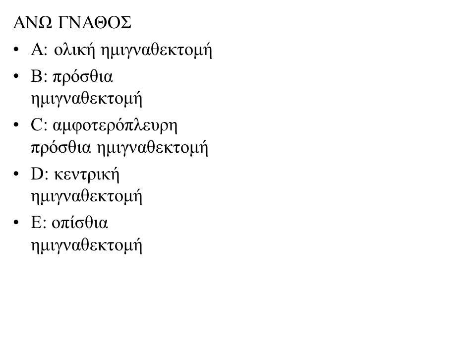 ΑΝΩ ΓΝΑΘΟΣ Α: ολική ημιγναθεκτομή. Β: πρόσθια ημιγναθεκτομή. C: αμφοτερόπλευρη πρόσθια ημιγναθεκτομή.