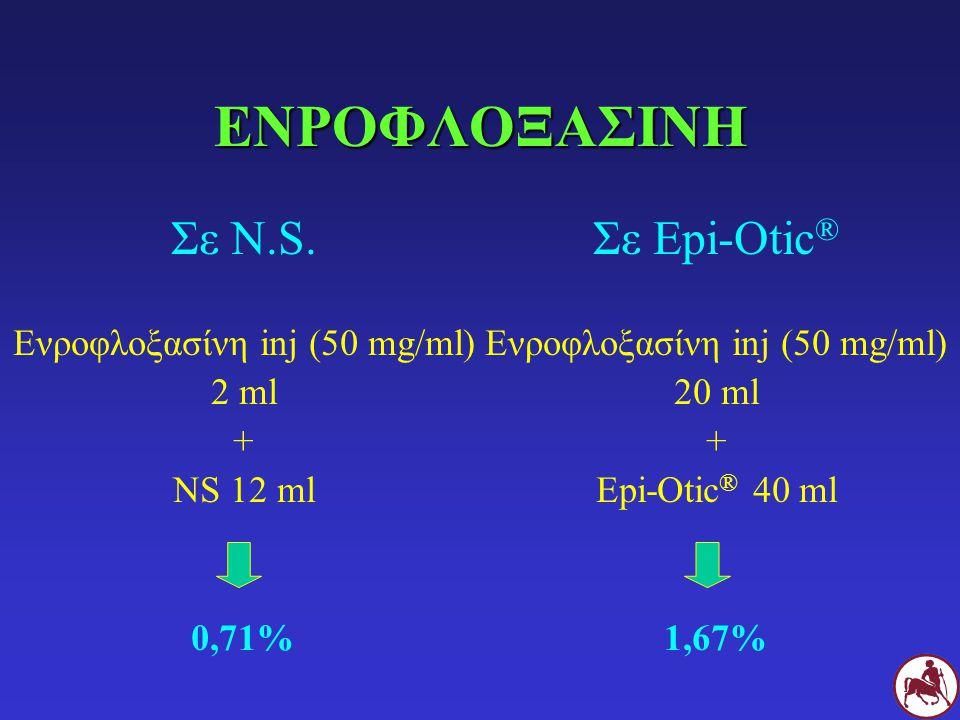ΕΝΡΟΦΛΟΞΑΣΙΝΗ Σε N.S. Σε Epi-Otic® Ενροφλοξασίνη inj (50 mg/ml) 2 ml +