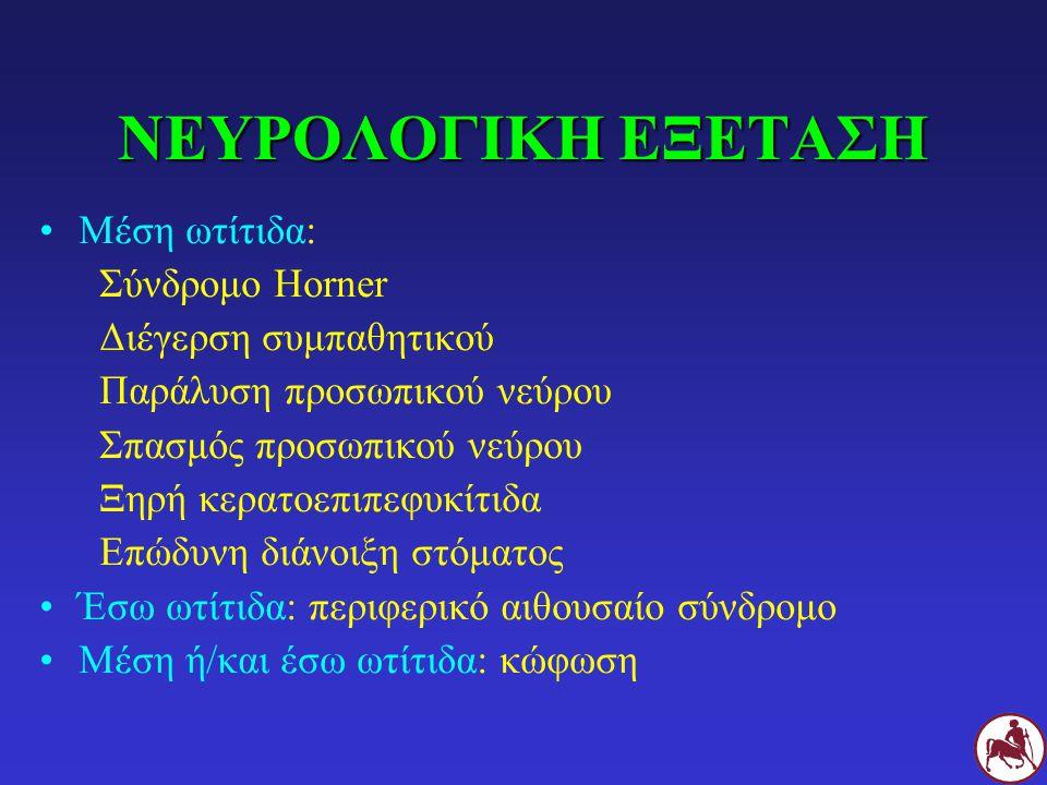ΝΕΥΡΟΛΟΓΙΚΗ ΕΞΕΤΑΣΗ Μέση ωτίτιδα: Σύνδρομο Horner
