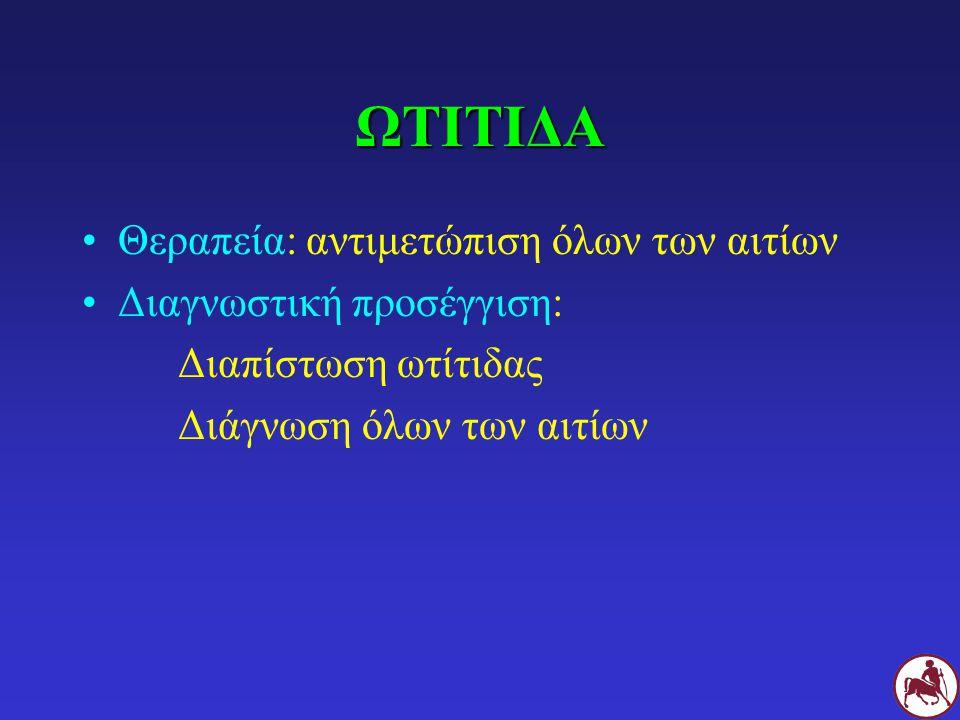 ΩΤΙΤΙΔΑ Θεραπεία: αντιμετώπιση όλων των αιτίων Διαγνωστική προσέγγιση: