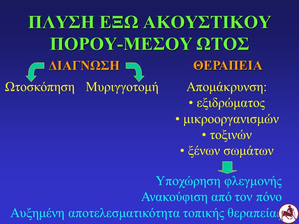 ΠΛΥΣΗ ΕΞΩ ΑΚΟΥΣΤΙΚΟΥ ΠΟΡΟΥ-ΜΕΣΟΥ ΩΤΟΣ