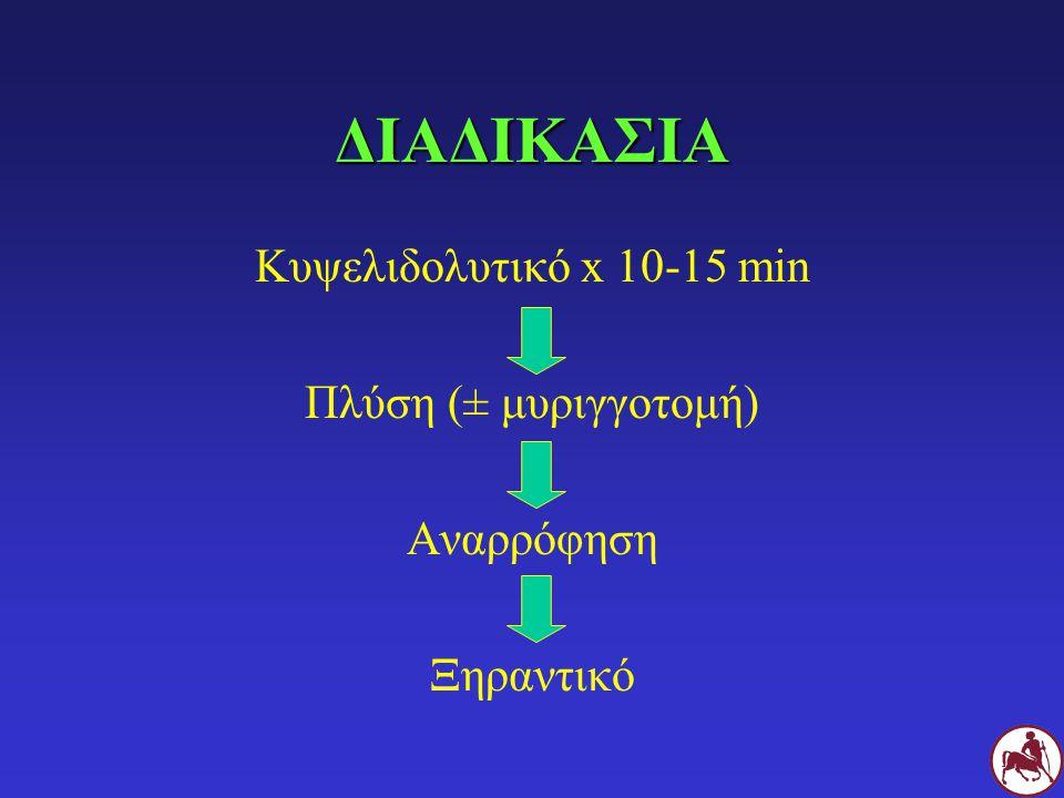 ΔΙΑΔΙΚΑΣΙΑ Κυψελιδολυτικό x 10-15 min Πλύση (± μυριγγοτομή) Αναρρόφηση