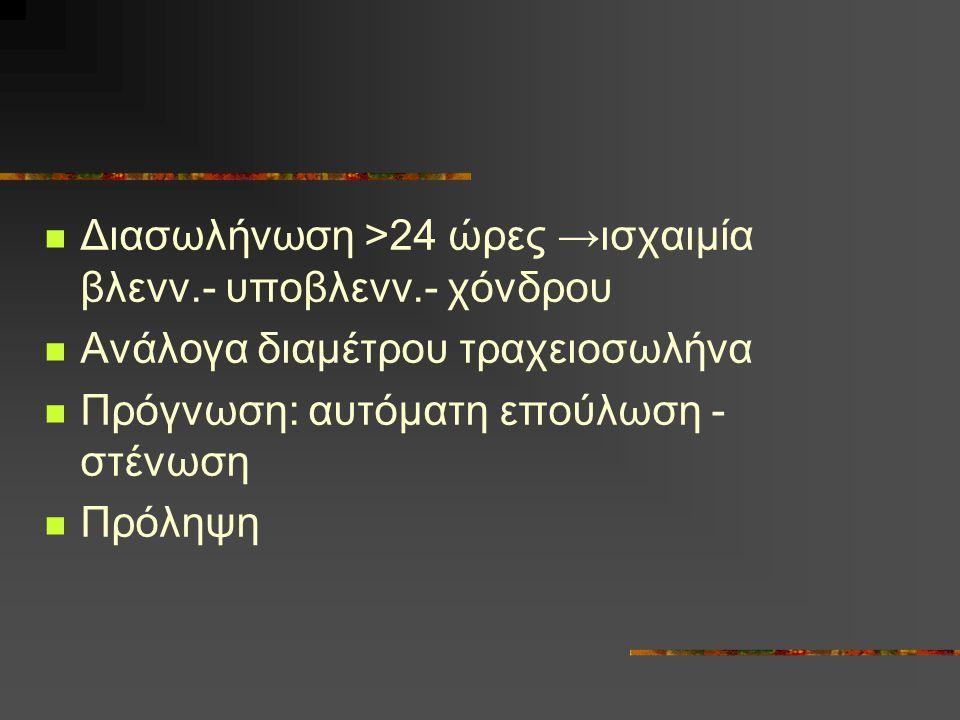 Διασωλήνωση >24 ώρες →ισχαιμία βλενν.- υποβλενν.- χόνδρου