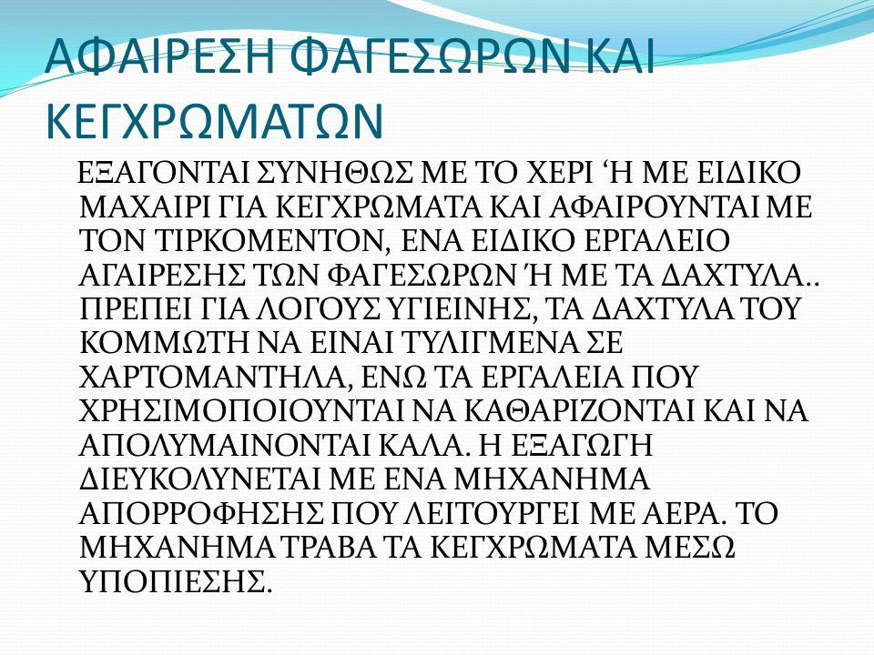 ΑΦΑΙΡΕΣΗ ΦΑΓΕΣΩΡΩΝ ΚΑΙ ΚΕΓΧΡΩΜΑΤΩΝ