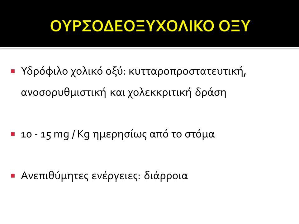 ΟΥΡΣΟΔΕΟΞΥΧΟΛΙΚΟ ΟΞΥ Υδρόφιλο χολικό οξύ: κυτταροπροστατευτική, ανοσορυθμιστική και χολεκκριτική δράση.